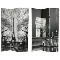 Handmade Canvas 6-foot Eiffel Tower/ Arc de Triomphe Room Divider (China)