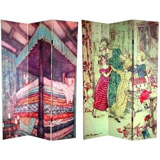 Handmade Canvas Double-sided 6-foot Fairy Tale Room Divider (China)