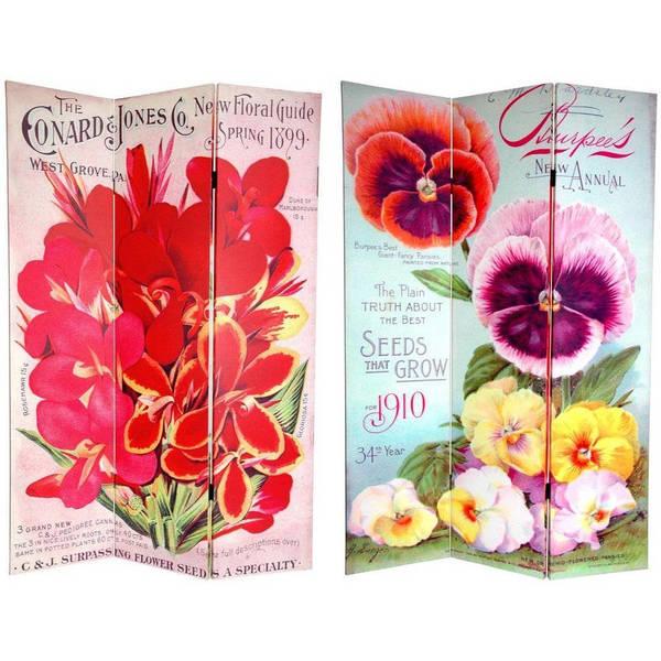 Handmade 6' Canvas Pansy Flower Seeds Room Divider