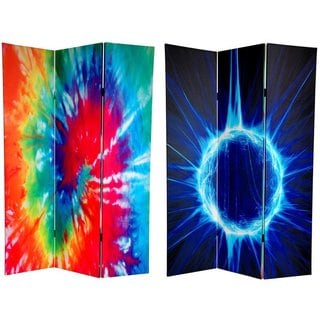 Double-sided 6-foot Tie-dye Canvas Room Divider (China)