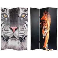 Handmade Double-sided 6-foot Tiger Canvas Room Divider (China)
