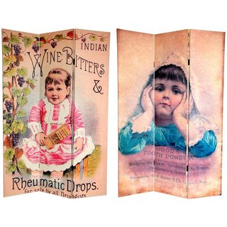 Canvas Double-sided 6-foot Vintage Children Room Divider (China)