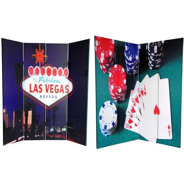Double-sided 6-foot Las Vegas Poker Canvas Room Divider (China)