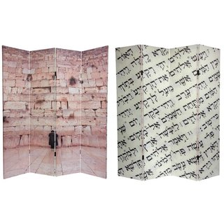 Handmade Double-sided 6-foot Western Wall Canvas Room Divider (China)