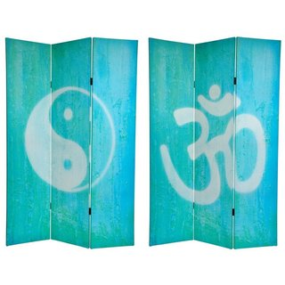 Canvas Double-sided 6-foot Yin-yang/ Om Room Divider (China)