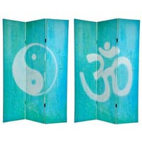 Handmade Canvas Double-sided 6-foot Yin-yang/ Om Room Divider (China) - 70.8 x 48