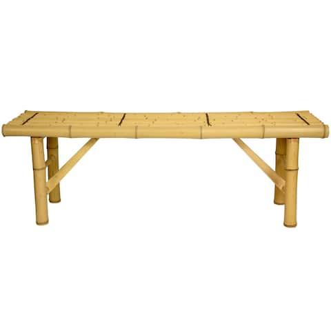 "Handmade 4' Japanese-Style Light Bamboo Folding Bench - 47.00""W x 14.00""D x 15.75""H"