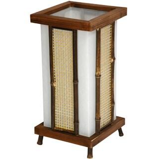 Handmade Wood and Bamboo 13-inch Matsu Shoji Lantern Lamp (China)