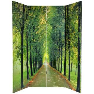Handmade Canvas Double-sided 'Path of Life' Room Divider (China)