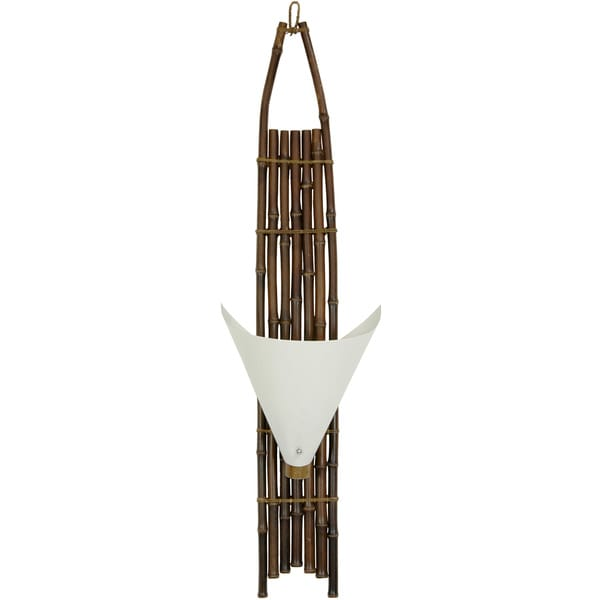 Handmade Japanese-style 40-inch Dark Baku Bamboo Wall Sconce (China)