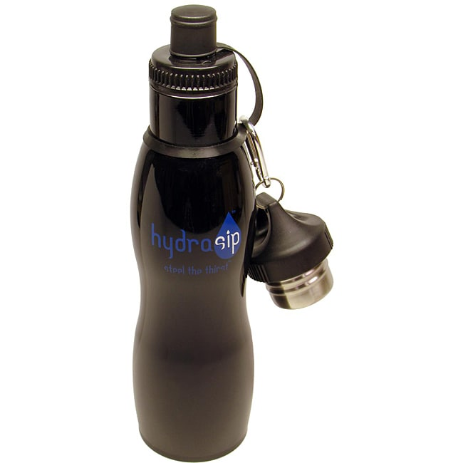 Hydrasip Double-wall Stainless Steel Black Bottles (Set of 2)