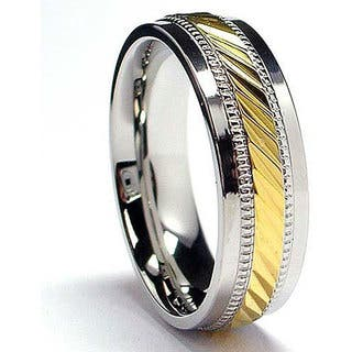 Oliveti Stainless Steel and Goldplated Crystal-cut Band (7.5 mm)|https://ak1.ostkcdn.com/images/products/4750811/P12656245.jpg?impolicy=medium