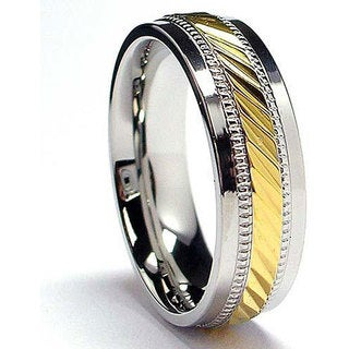 Oliveti Stainless Steel and Goldplated Crystal-cut Band (7.5 mm) (More options available)