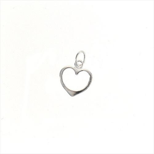 Beadaholique Sterling Silver Sleek Open Heart Charms (Pack of 2)