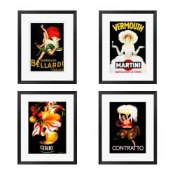 gallery direct capiello vintage series i iv 4 piece framed art set