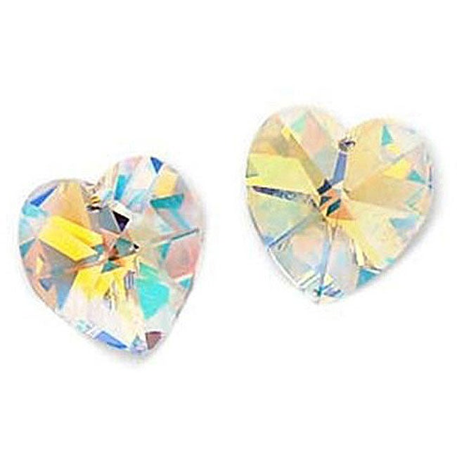 Beadaholique Austrian Crystal AB 6202 14mm Heart Pendant Beads (Pack of 4)
