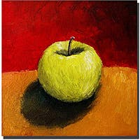 Michelle Calkins 'Granny Smith with Gold and Red' Art - Red