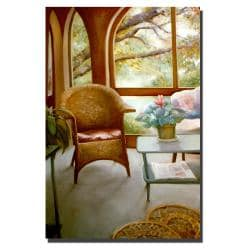 Michelle Calkins 'Wicker Chair and Cyclamen' Canvas Art - Thumbnail 1