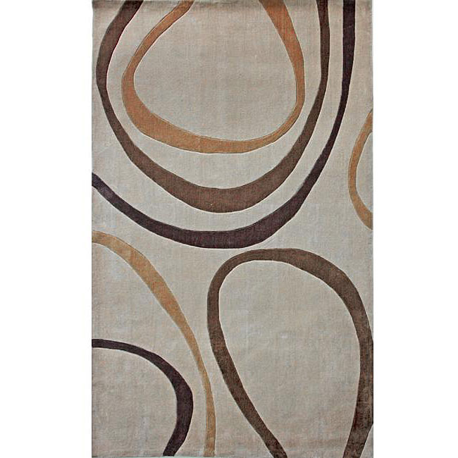 nuLOOM Hand-tufted Pino Collection Circles Beige Rug (7'6 x 9'6)
