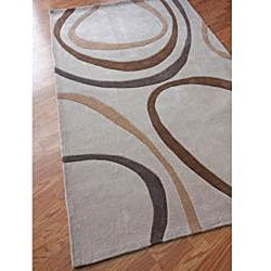 nuLOOM Hand-tufted Pino Collection Circles Beige Rug (7'6 x 9'6) - Thumbnail 1
