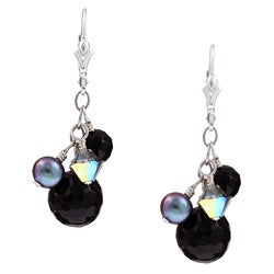 Charming Life Sterling Silver Black Onyx and Pearl Earrings (6 mm)