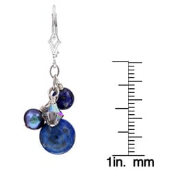 Lola's Jewelry Sterling Silver Blue Lapis and Pearl Earrings (6 mm) - Thumbnail 2