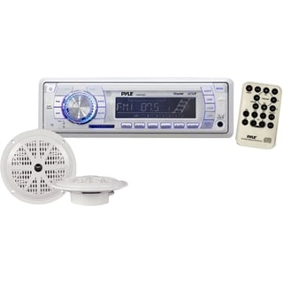 In-Dash Marine AM/ FM PLL Tuning Radio USB/ SD/ MMC AUX Input with Remote + Pair of 5.25-inch 100W Speakers