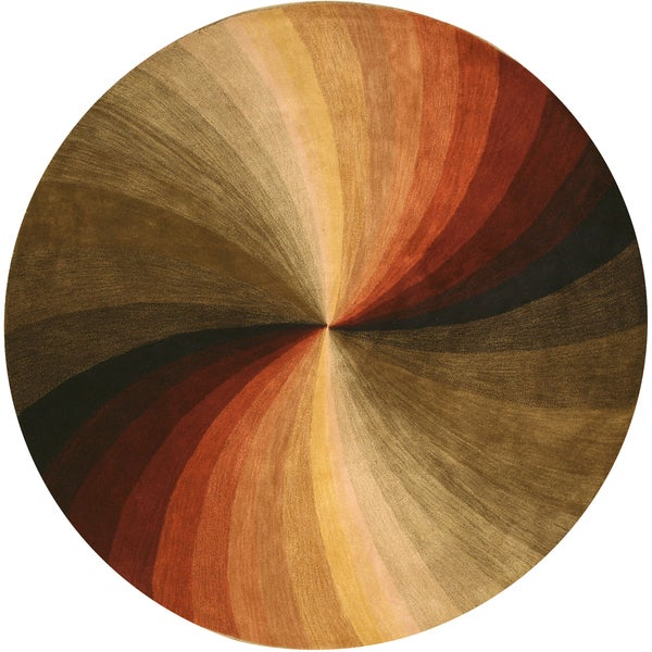Hand Tufted Agra Red Gold Wool Rug 8 Round: EORC Hand-tufted Wool Multi Swirl Rug (4' Round