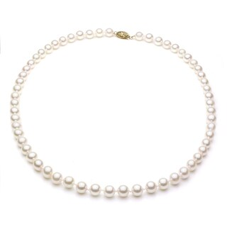 DaVonna 14k Gold White Akoya Pearl High Luster 24-inch Necklace (5.5-6 mm)
