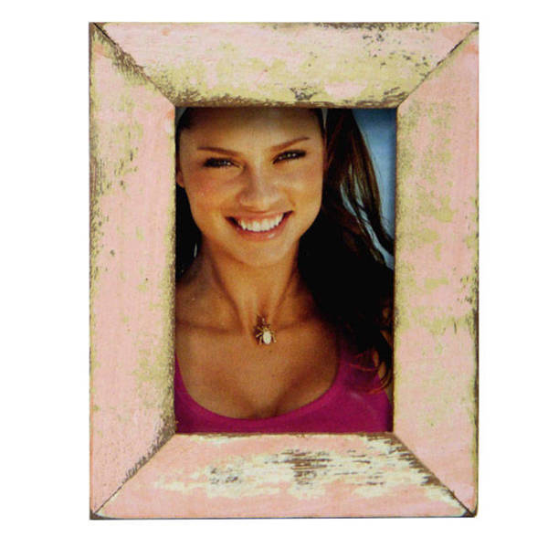 Casual Pink Wood Picture Frame, Handmade in Thailand