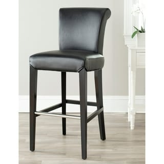 Safavieh Manhattan Black Leather 29-inch Bar Stool