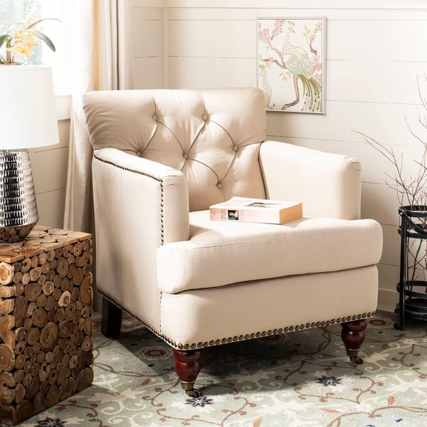 Ordinaire Safavieh Colin Taupe Cotton Tufted Club Chair