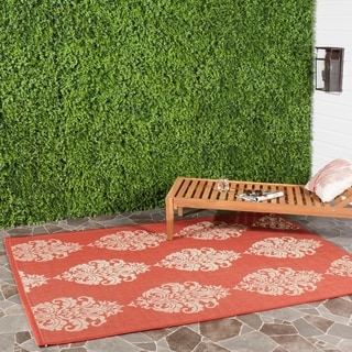 Safavieh St. Martin Damask Red/ Natural Indoor/ Outdoor Rug (9' x 12')