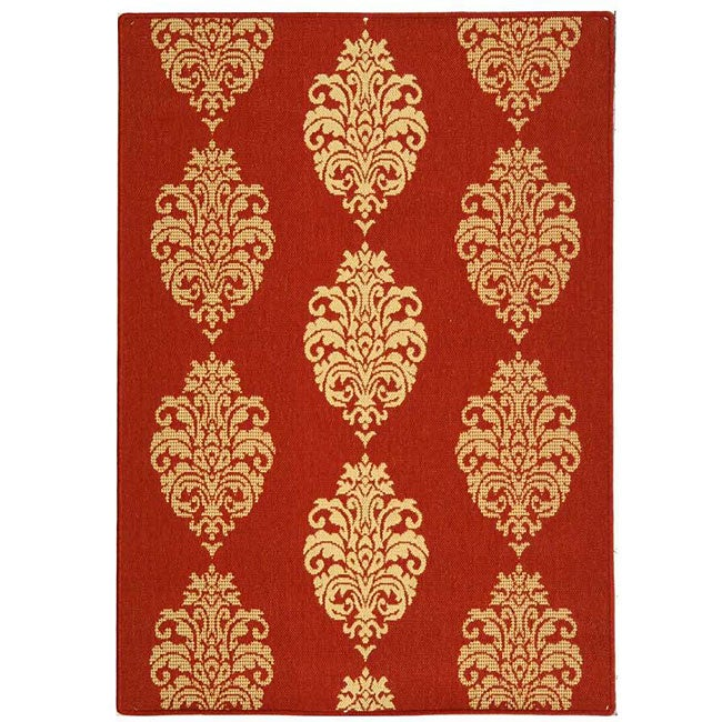 Safavieh St. Martin Damask Red/ Natural Indoor/ Outdoor Rug - 2'7 x 5'