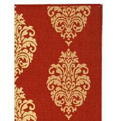 Safavieh St. Martin Damask Red/ Natural Indoor/ Outdoor Rug (2'7 x 5') - Thumbnail 1