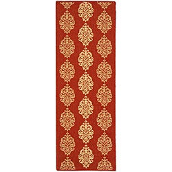 Safavieh St. Martin Damask Red/ Natural Indoor/ Outdoor Runner (2' 3 x 10')
