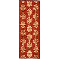 Safavieh St. Martin Damask Red/ Natural Indoor/ Outdoor Runner Rug - 2' 3 x 10'