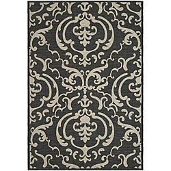 Safavieh Bimini Damask Black/ Sand Indoor/ Outdoor Rug (9' x 12')