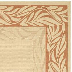 Safavieh Tranquil Poolside Natural/ Terracotta Indoor/ Outdoor Rug (6'7 x 9'6) - Thumbnail 1