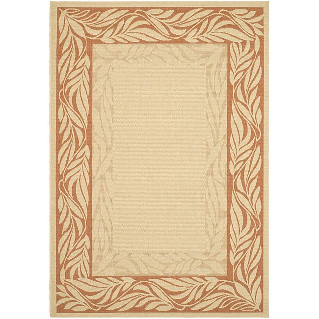Safavieh Tranquil Poolside Natural/ Terracotta Indoor/ Outdoor Rug (2'7 x 5')