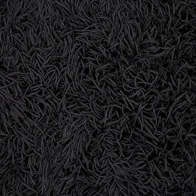 Hand-knotted Mandara Black Cotton Shag Rug (2'6 x 6')
