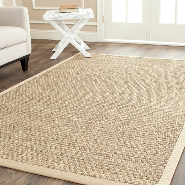 Safavieh Casual Natural Fiber Natural and Beige Border Seagrass Rug (5' x 8')