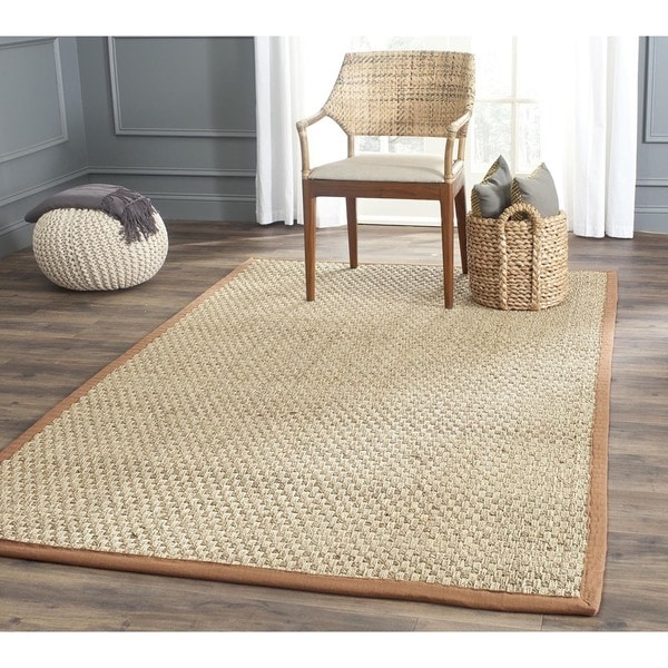 Safavieh Casual Natural Fiber Natural and Brown Border Seagrass Rug (6' Square)