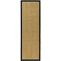 "Safavieh Natural Fiber Marina Natural/ Black Seagrass Rug - 2'6"" x 16'"