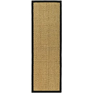 Safavieh Casual Natural Fiber Natural and Black Border Seagrass Runner (2'6 x 16')