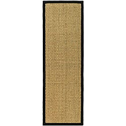 "Safavieh Casual Natural Fiber Natural and Black Border Seagrass Runner - 2'6"" x 16'"