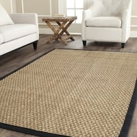Safavieh Casual Natural Fiber Natural and Black Border Seagrass Rug - 6' x 6' Square
