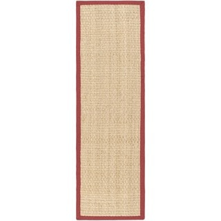 Safavieh Casual Natural Fiber Natural and Red Border Seagrass Runner (2'6 x 16')