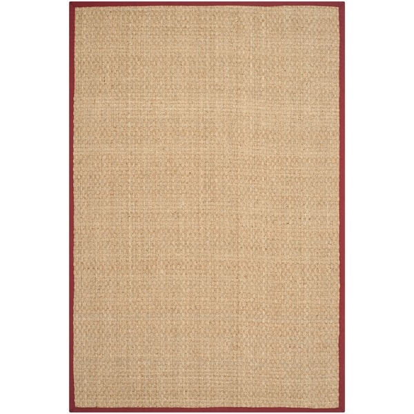 Safavieh Casual Natural Fiber Natural and Red Border Seagrass Rug - 5' x 8'
