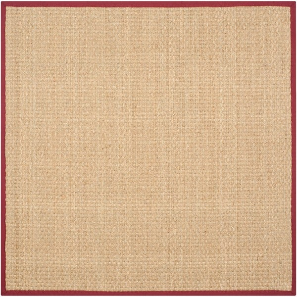 Safavieh Casual Natural Fiber Natural and Red Border Seagrass Rug - 6' x 6' Square